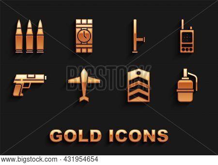 Set Jet Fighter, Walkie Talkie, Hand Grenade, Chevron, Pistol Or Gun, Police Rubber Baton, Bullet An