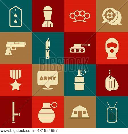 Set Military Dog Tag, Balaclava, Brass Knuckles, Knife, Pistol Or Gun, Rank And Tank Icon. Vector