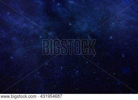Star In Blue Space Background. Colorful Starry Night Outer Space Background. Star Field, Cosmos Clou