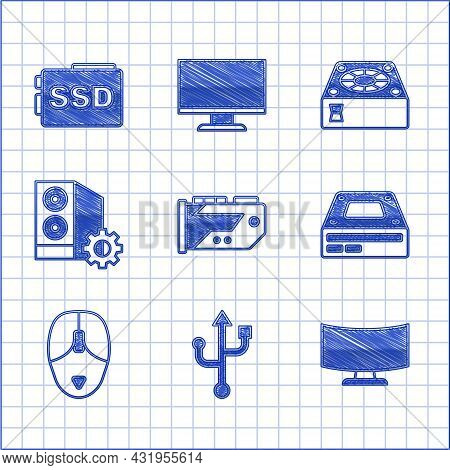 Set Video Graphic Card, Usb, Computer Monitor Screen, Optical Disc Drive, Mouse, Case Of Computer, C