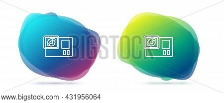 Set Line Action Extreme Camera Icon Isolated On White Background. Video Camera Equipment For Filming