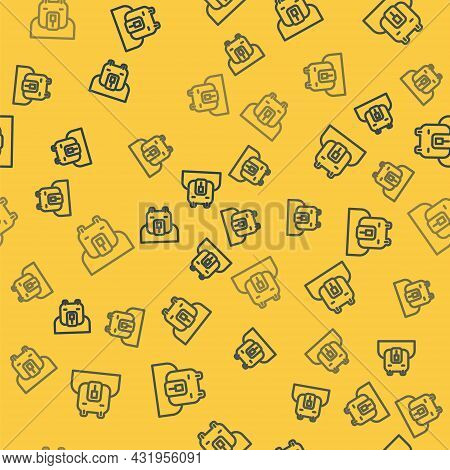 Blue Line Polar Bear Head Icon Isolated Seamless Pattern On Yellow Background. Vector