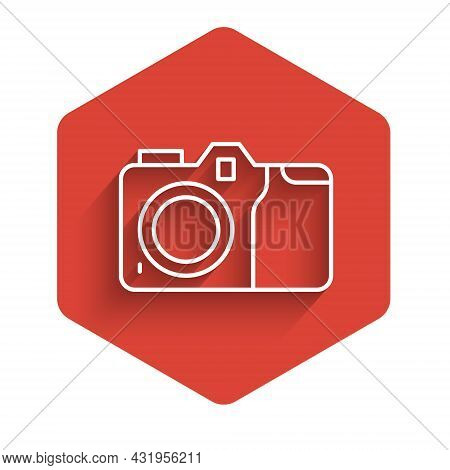 White Line Photo Camera Icon Isolated With Long Shadow. Foto Camera Icon. Red Hexagon Button. Vector