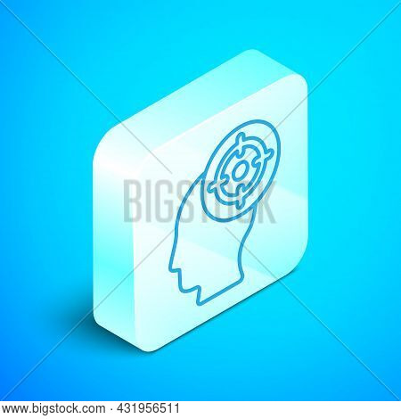 Isometric Line Target Sport Icon Isolated On Blue Background. Clean Target With Numbers For Shooting