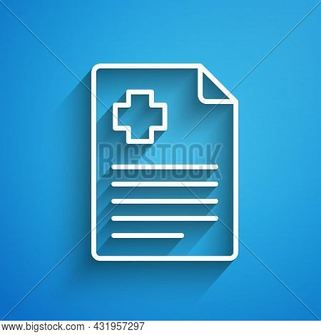 White Line Medical Clipboard With Clinical Record Icon Isolated On Blue Background. Prescription, Me
