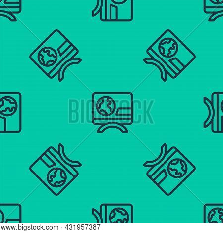 Blue Line Breaking News Icon Isolated Seamless Pattern On Green Background. News On Television. News