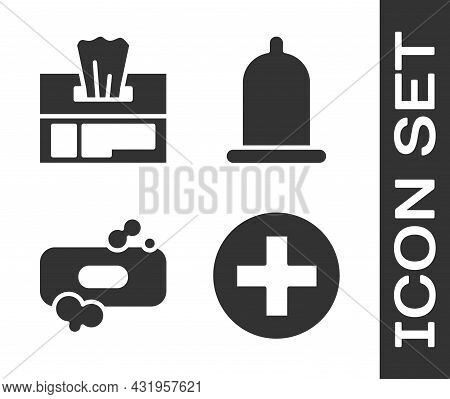 Set Cross Hospital Medical, Wet Wipe Pack, Bar Of Soap And Condom Icon. Vector