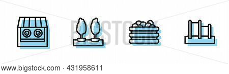 Set Line Pool With Balls, Shooting Gallery, Forest And Horizontal Bar Icon. Vector