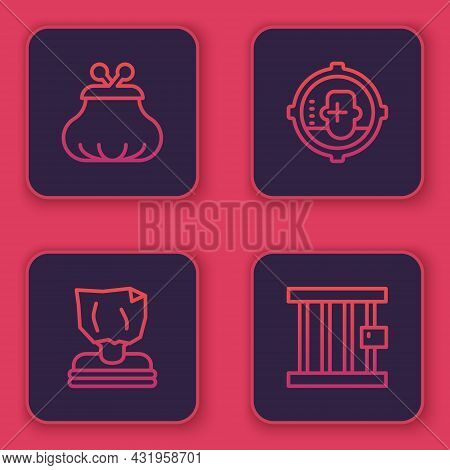 Set Line Wallet, Kidnaping, Headshot And Prison Window. Blue Square Button. Vector