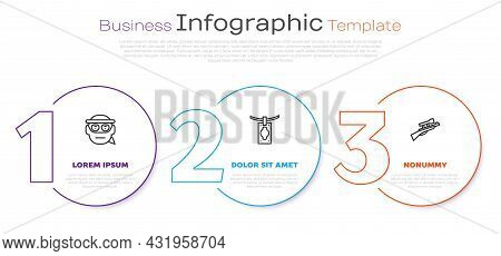 Set Line Bandit, Money Laundering And Sniper Rifle With Scope. Business Infographic Template. Vector