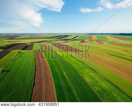 Splendid summer scene of green rural land and cultivated fields. Location place of Ukraine, Europe. Drone photo. Top view, aerial photography. Vibrant photo wallpaper. Discover the beauty of earth.