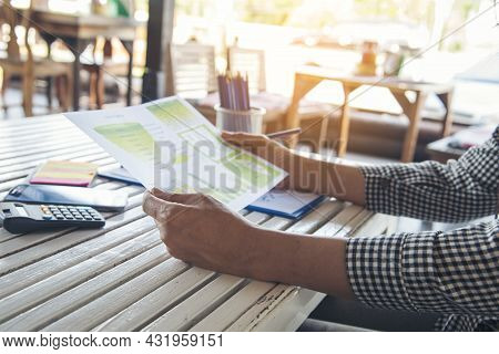 Woman Hands Working Home Do Accounting Small Business. Audit Businesswoman At Office Desk. Close Up