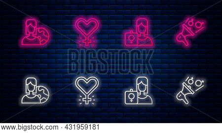 Set Line Feminism, Feminist Activist, Women From Different Countries And . Glowing Neon Icon On Bric