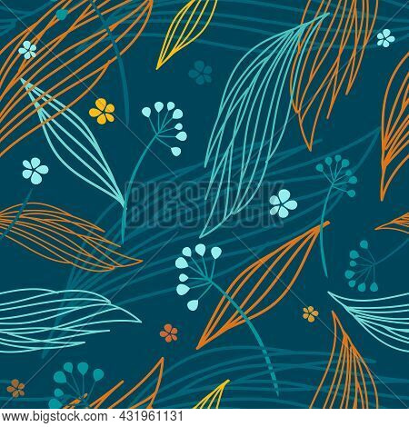 Autumn Leaf Seamless Pattern. Vector Illustration, Pattern, Background For Textiles, Wrapping Paper,
