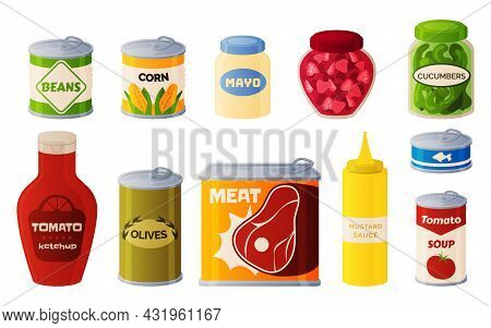 Canned Food. Cartoon Preserved Meal And Sauces. Bottles With Ketchup, Mayonnaise Or Mustard. Corn An