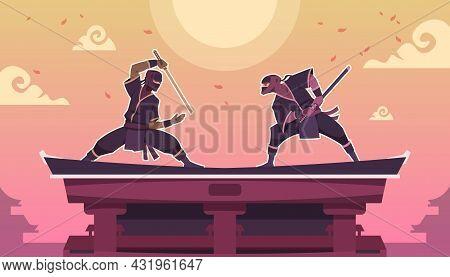 Ninja Fight. Cartoon Scene With Ancient Japanese Warriors In Black Kimono With Swords. Shinobi Duel.