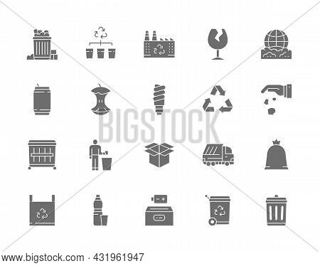 Set Of Garbage Gray Icons. Dumpster, Beer Can, Broken Glass, Apple Core And More