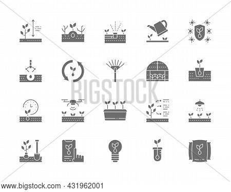 Set Of Planting Grey Icons. Weed Control, Rake, Greenhouse, Agriculture And More