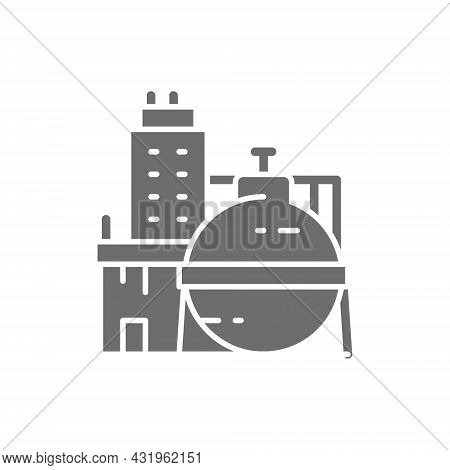 Oil Factory, Chemical Plant, Industrial Building Grey Icon.