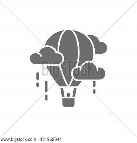 Vector Air Balloon, Aerostat, Dirigible Grey Icon.