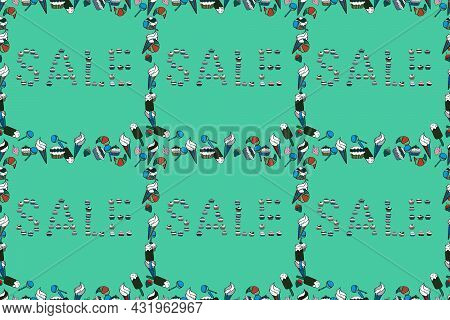 Picture In Blue, Green And White Colors. Raster. Seamless Pattern. Special Offer Sale Paper Tag, Ban