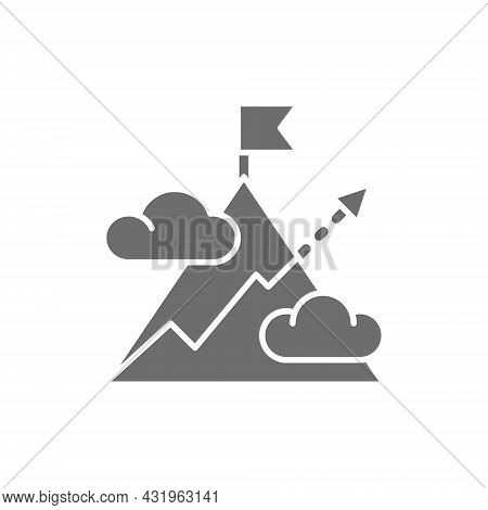 Mountain With Arrow, Mount, Hill, Target, Goal Grey Icon.