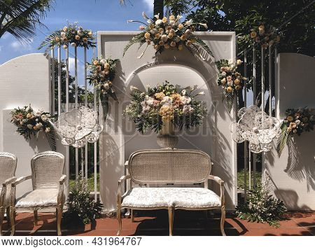Inndonesia Beautiful Floral Stage For Wedding Ceremony.