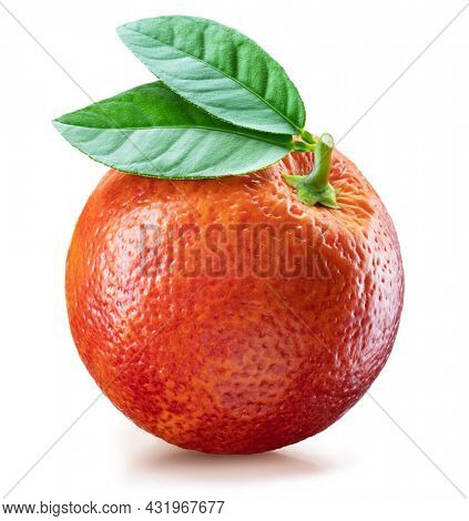 Red orange or blood orange with green leaf on white background. File contains clipping path.