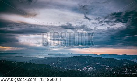 Barcelona, Spain. Evening Mountains Landscape Near Barcelona Spain