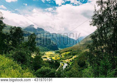 Fortun, Sogn Og Fjordane County, Norway. Beautiful Valley In Norwegian Rural Landscape. Jostedola Ri