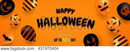 Halloween Sale Promotion Banner With Halloween Ghost Balloons On Orange Background. Vector Illustrat
