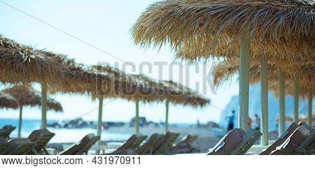 Beach sunshades on the southern resort