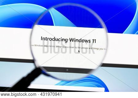 Ostersund, Sweden - July 27, 2021 Windows 11 homepage. Windows 11 is a personal computer operating system developed and released by Microsoft