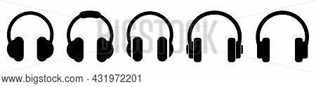 Black Headphone Icons Set. Vector Illustration Isolated On White Background