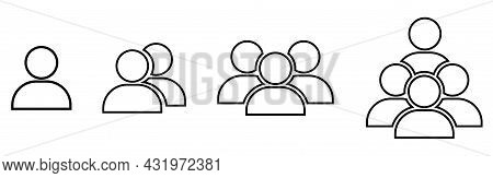 People Icons. Group Of People In Line Art Style. Team Signs. Vector Illustration