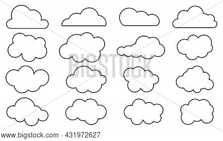 Set Of Outline Cloud Icons. Weather Climate Symbol. Cloud Shapes Collection