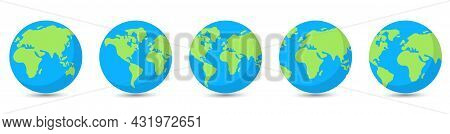 Set Of Planet Earth Globes. Vector Illustration Isolated On White Background