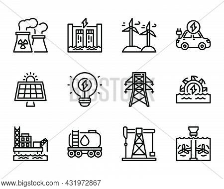 Sustainable Energy Outline Icon And Symbol For Website, Application