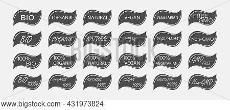 Set Of Templates For Icons Of Natural Food And Natural Products Of Plant Origin. Flat Style