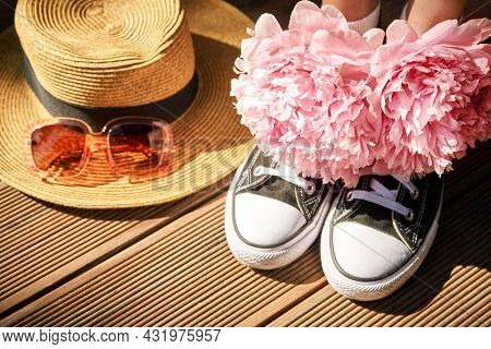 Natural Botanical Wedding Concept. Anonymous Shoes, Hat And Eyeglasses. Copyspace. Runner Love Still