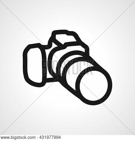 Professional Digital Photo Camera Line Icon. Professional Camera Isolated Simple Vector Icon.