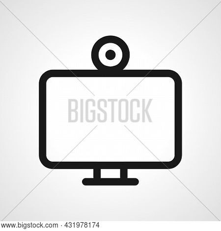 Webcam Line Icon. Webcam On Monitor Isolated Simple Vector Icon.