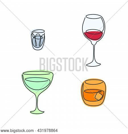 One Line Drawing Vodka Wine Vermouth Whiskey Glass On White Background. Color Cartoon Graphic Sketch