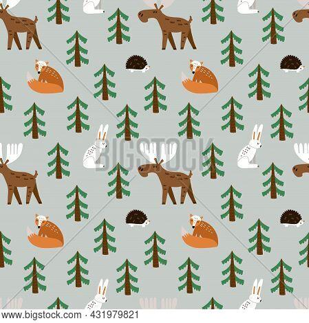 Forest Animals Seamless Pattern. Hand Drawn Cartoon Scandinavian Elk Fox And Hare Cute Scandi Illust