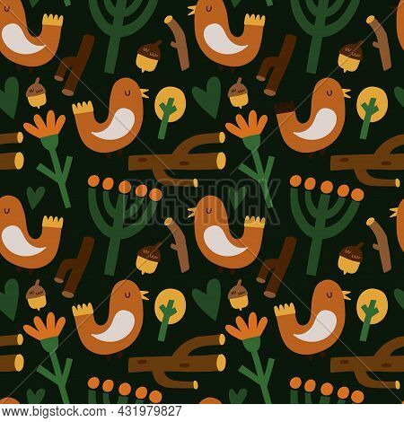 Bird Seamless Pattern. Hand Drawn Cartoon Scandinavian Forest Bird, Cute Scandi Nursery Design. Bran