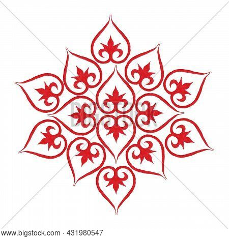 Oriental Tatar, Asian Pattern, Red Background, Heart Pattern Similar To A Flower With Twigs In The M