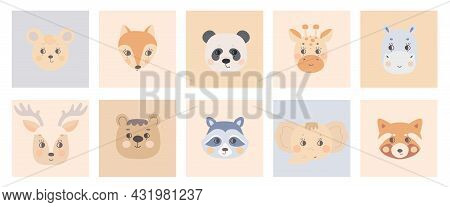 Cute Simple Animal Faces On Colorful Backgrounds. Portrait Of A Cartoon Funny Deer, Raccoon, Red Pan