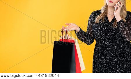 Black Friday Sale. Shopaholic Lifestyle. Plus Size Fashion. Holiday Purchase. Unrecognizable Overwei