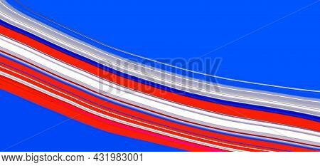 Abstract Bright White And Red Waving Lines On Blue Background. Art Trippy Digital Backdrop. Curved S