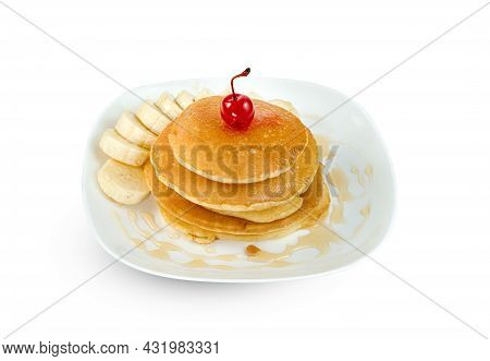 Pancakes With Banana Sliced And Cherry In Dish Isolated On White Background ,include Clipping Path
